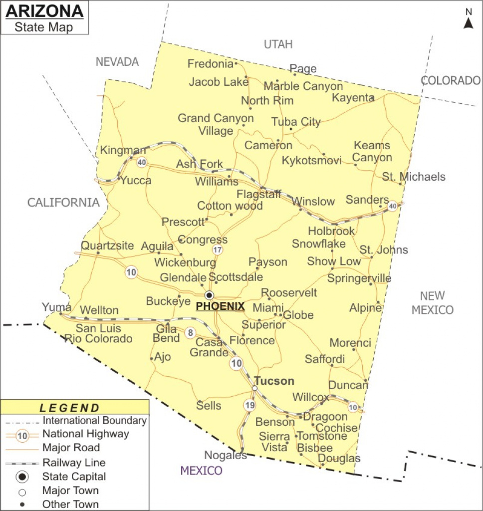 Arizona Map, Map Of Arizona With Cities, Road, River, Highways for Arizona State Map With Major Cities