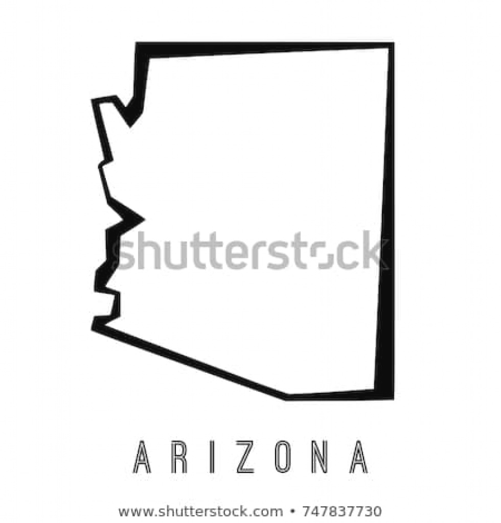 Arizona Map Outline Us State Shape Stock Vector (Royalty Free for Arizona State Map Outline