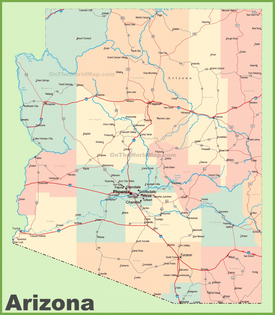 Arizona Road Map With Cities And Towns pertaining to Arizona State Map With Major Cities
