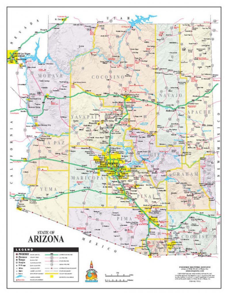 Arizona State Road Map - Arizona Us • Mappery with regard to State Road Maps