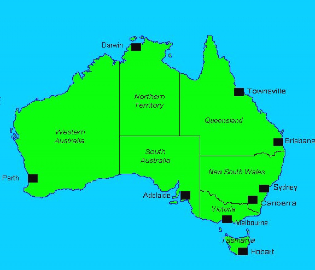 Australia Major Cities Map And Travel Information | Download Free inside Map Of Australia With States And Major Cities