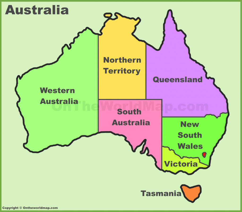 Australia States And Territories Map   List Of Australia States And intended for Australian States And Territories Map