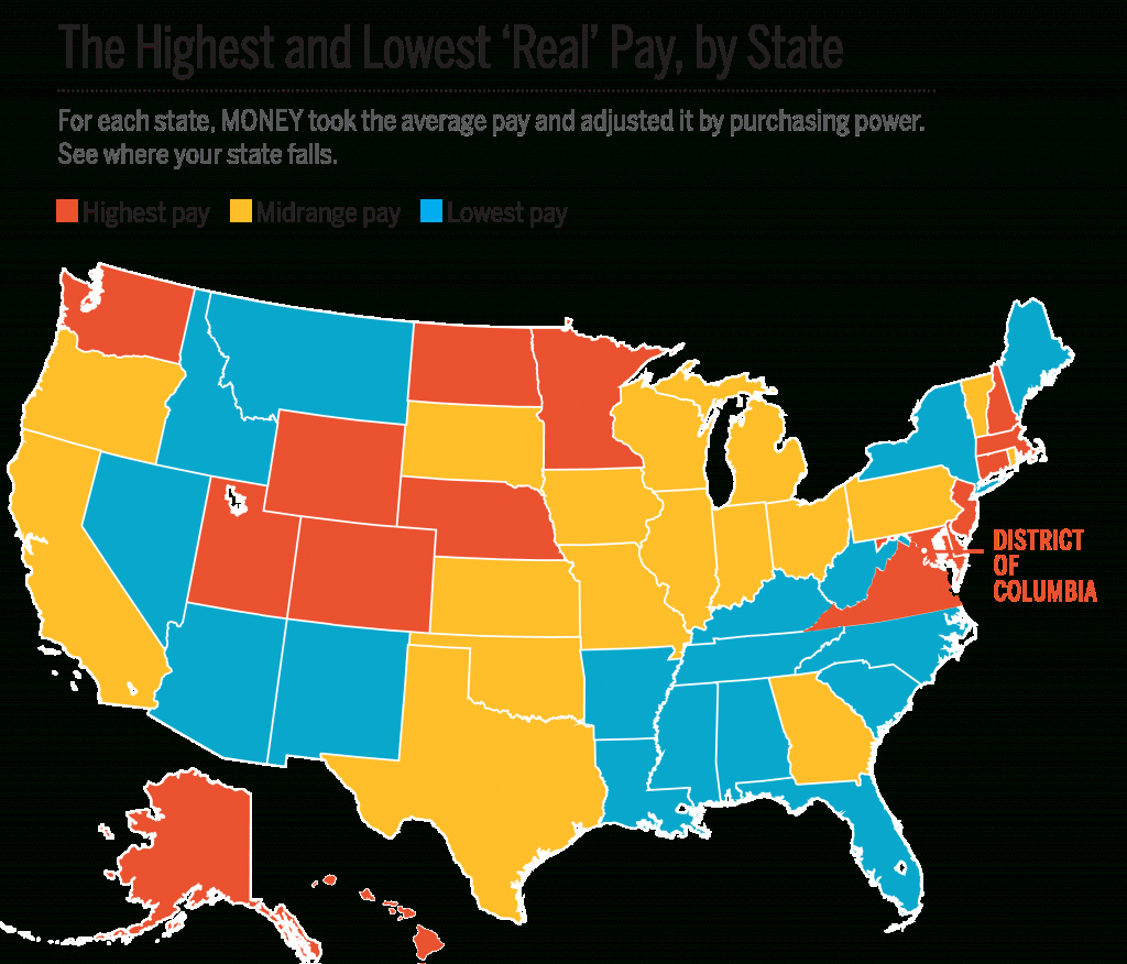Average Income And Cost Of Living In Every State | Money within Map Of The United States That You Can Fill In