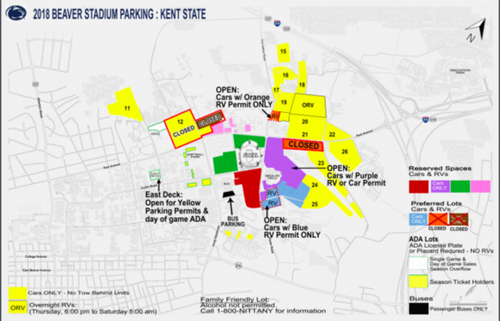 Bad Weather Forces Penn State To Close Some Parking Lots Ahead Of throughout Penn State Stadium Parking Map