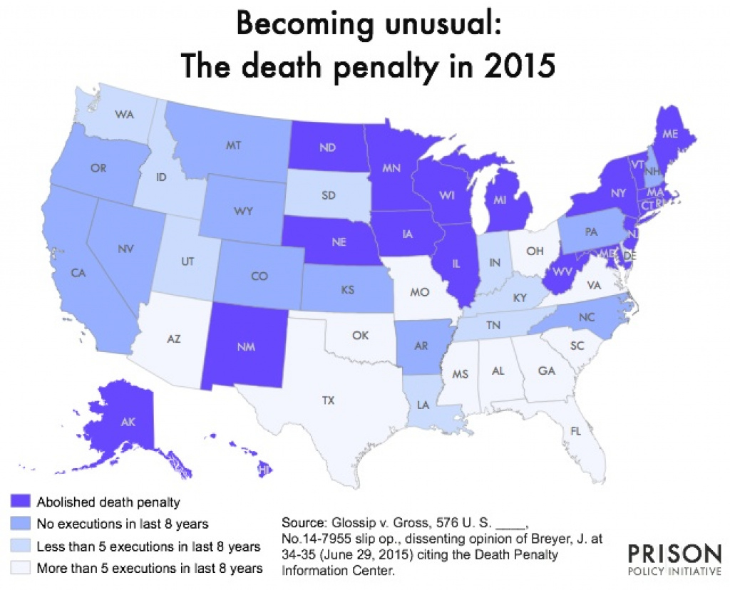 Becoming Unusual: The Death Penalty In 2015 | Prison Policy Initiative intended for Death Penalty States Map