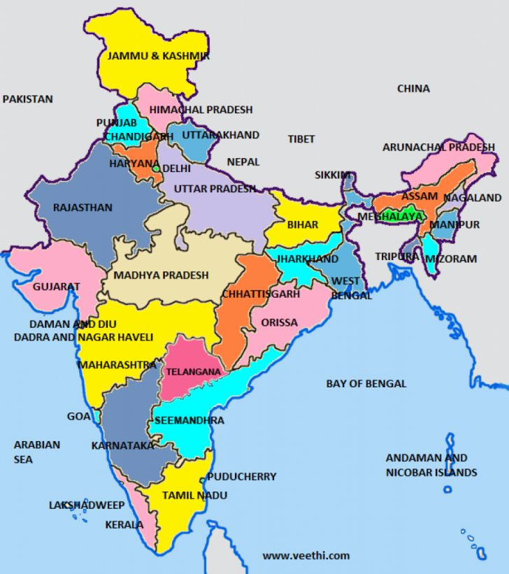 India Map With States Name In Hindi