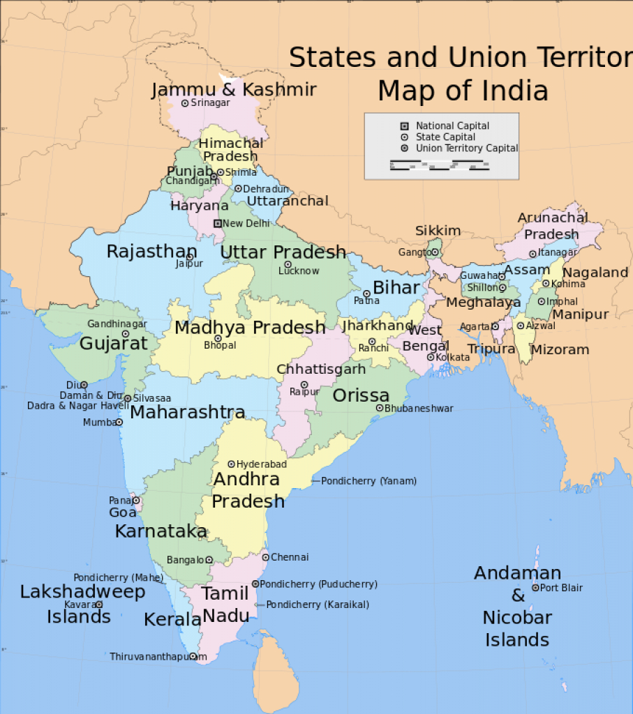 Bestand:india States And Union Territories Map.svg - Wikipedia inside Capitals Of Indian States Map