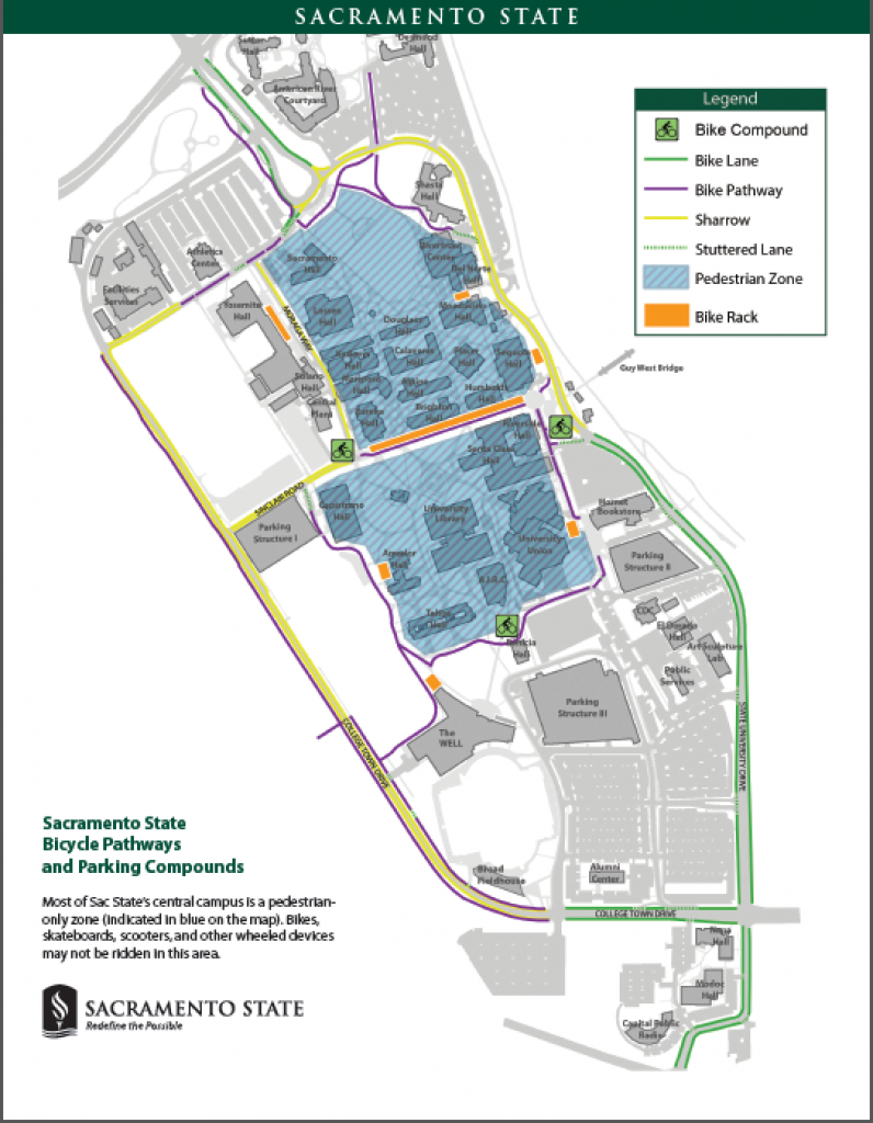 Bicycling At Sac State with regard to Sacramento State Map Pdf