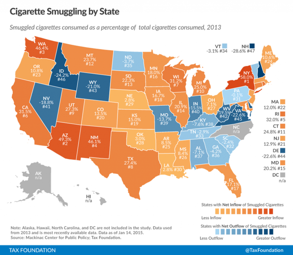 Black Markets For Cigarettes Correlated With Excise Taxes On intended for Cigarette Prices By State Map