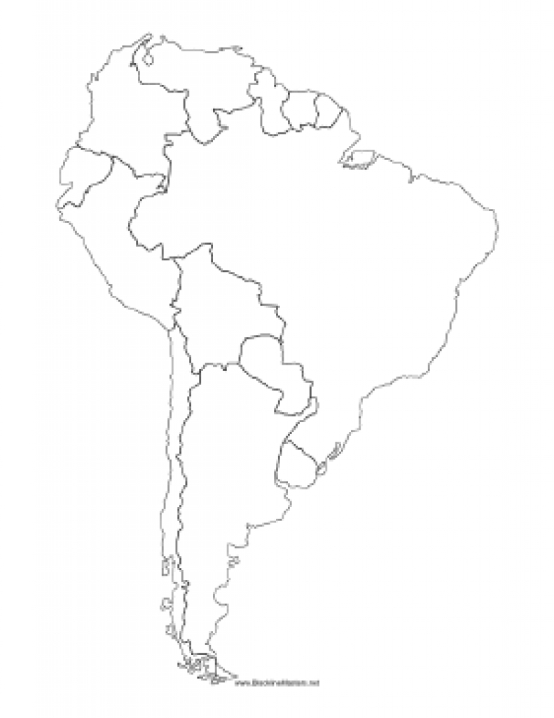 Blackline Map Of South America intended for Blackline Maps Of The United States