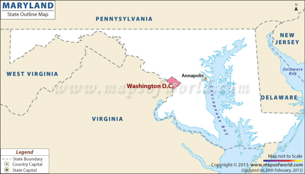Blank Map Of Maryland | Maryland Outline Map regarding Map Of Maryland And Surrounding States