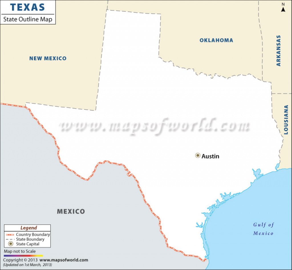 Blank Map Of Texas, Texas Outline Map inside Map Of Texas And Surrounding States