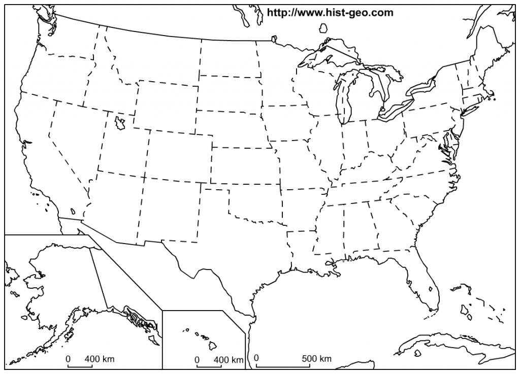 Blank Outline Maps Of The 50 States Of The Usa (United States Of for Blank Outline Map Of The United States