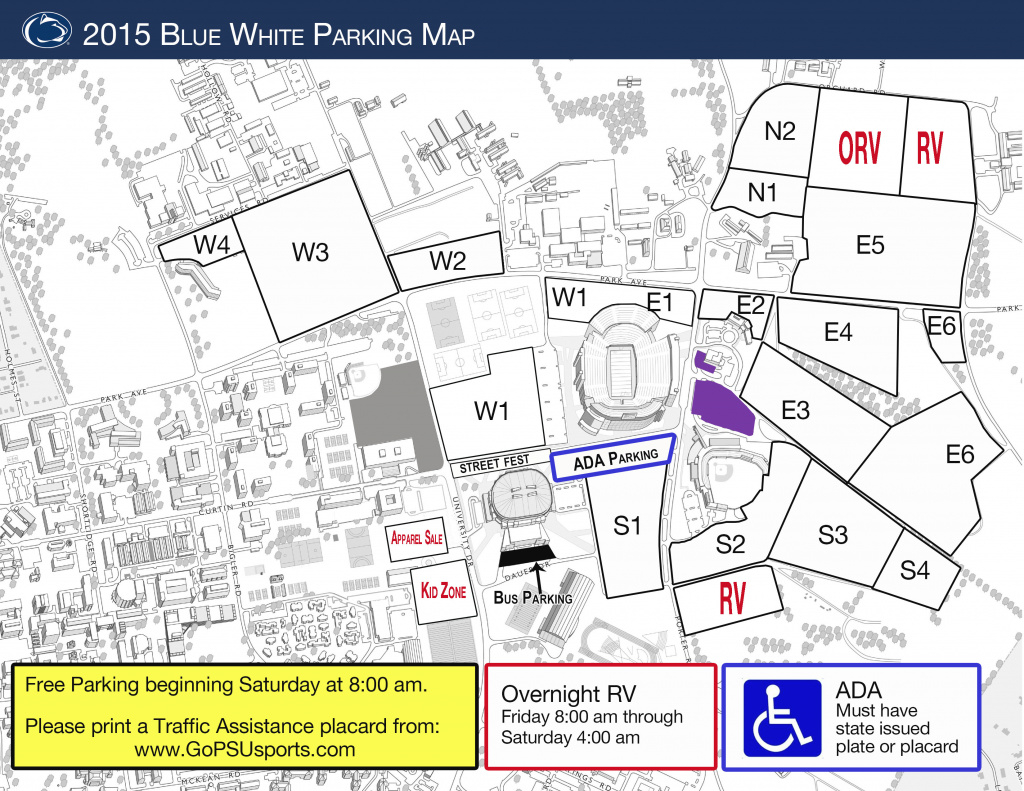 Blue-White Parking Info : Steve Jones Show throughout Penn State Stadium Parking Map
