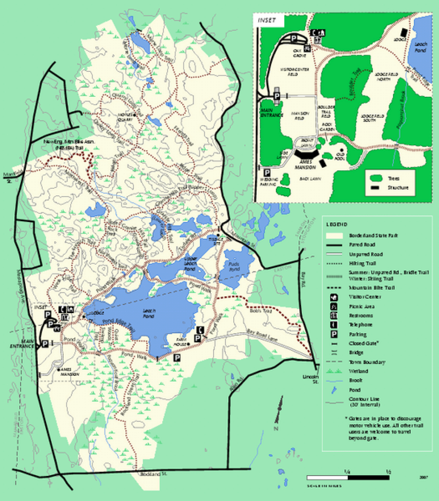 Borderland State Park Trail Map - Borderland State Park Ma • Mappery with regard to Massachusetts State Parks Map