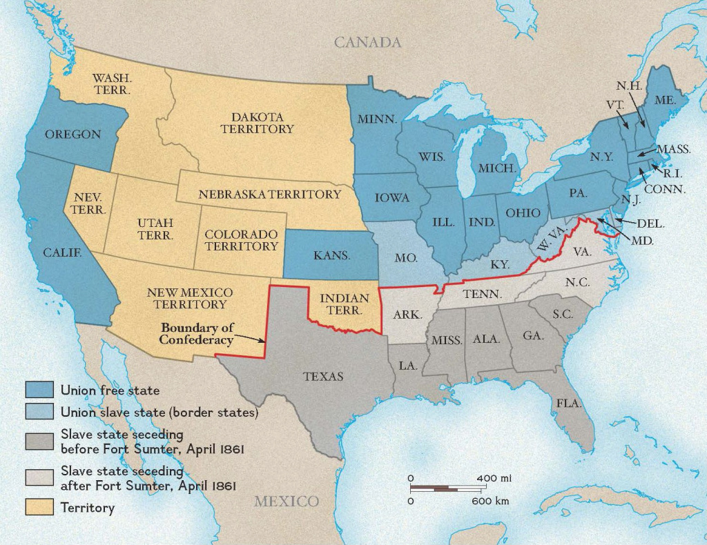 Boundary Between The Union And The Confederacy | National Geographic regarding Civil War Map Union And Confederate States