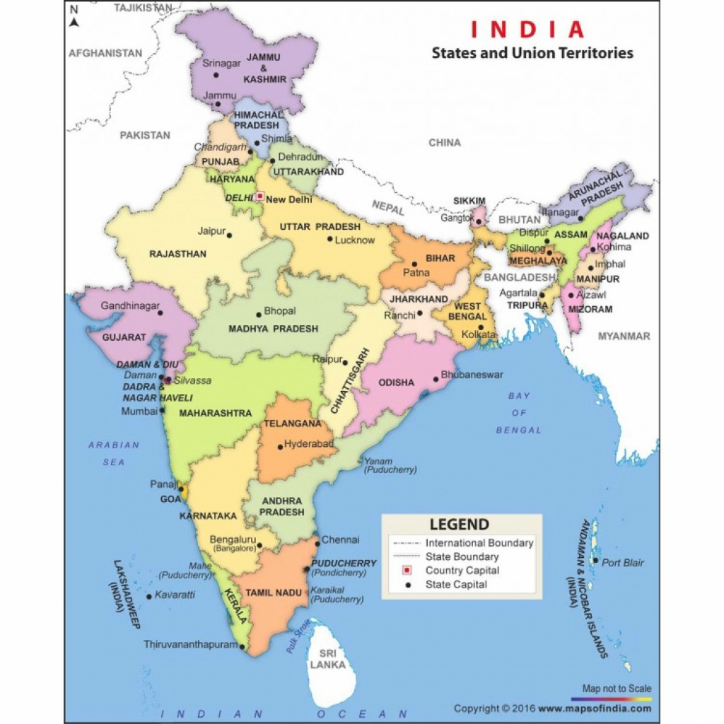 Buy India Political Map State And Capital In Vinyl Material pertaining to India Map With States And Capitals