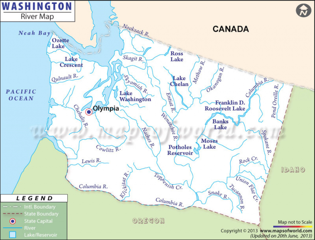 Buy Washington River Map for Washington State Rivers Map