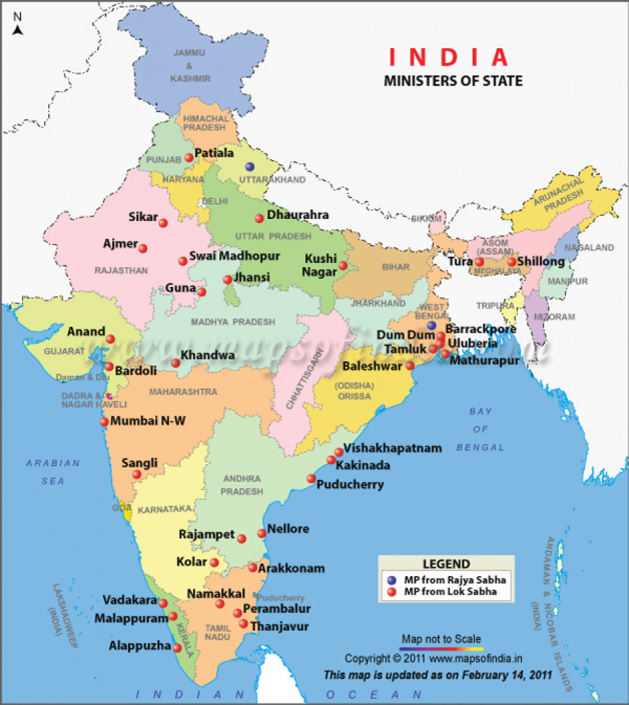 Cabinet Ministers Map in Google Map Of India With States