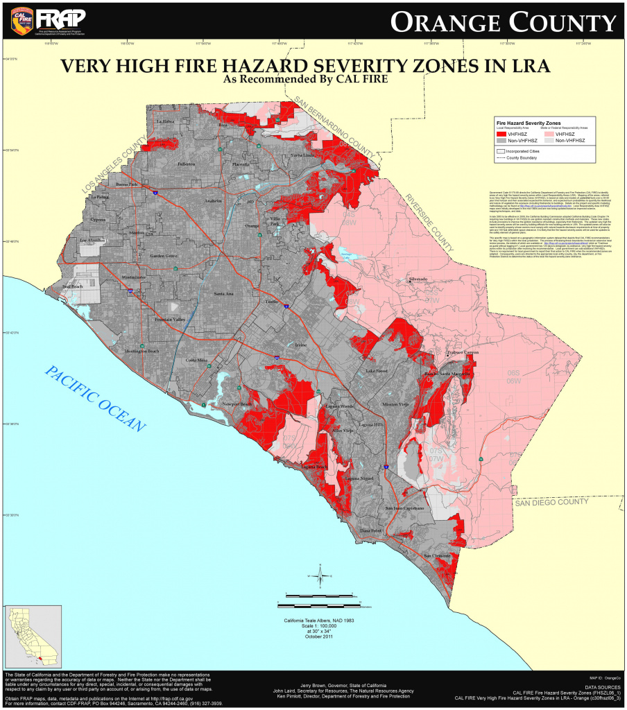 Cal Fire - Orange County Fhsz Map throughout California State Fire Map