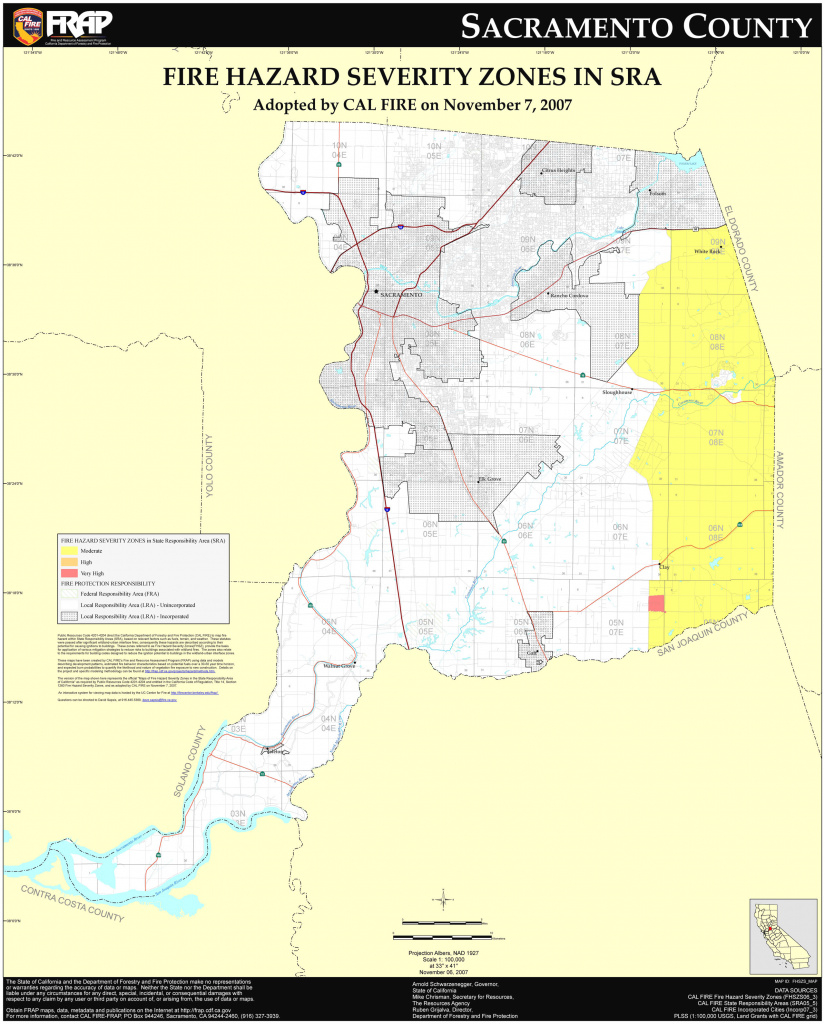 Cal Fire - Sacramento County Fhsz Map inside Sacramento State Map Pdf