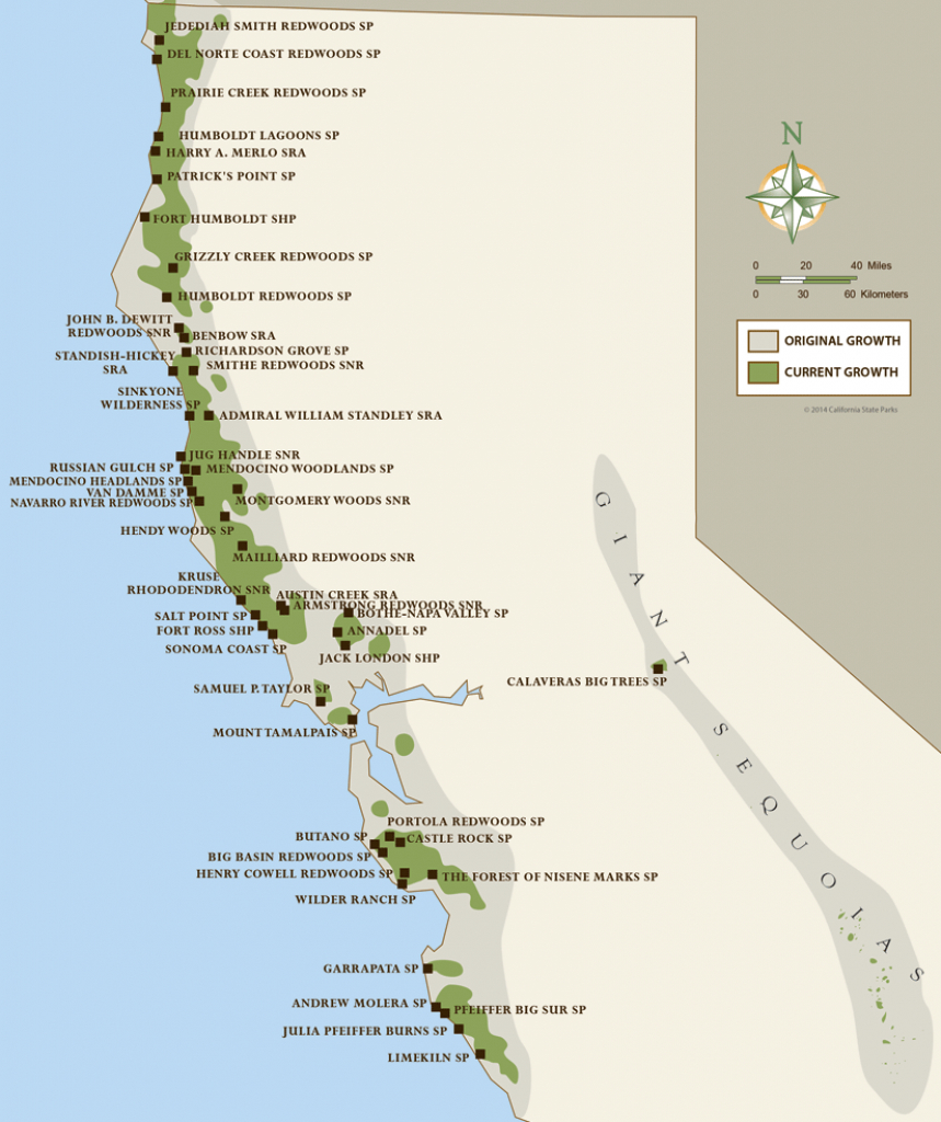 California Coastal Redwood Parks intended for California State Parks Camping Map