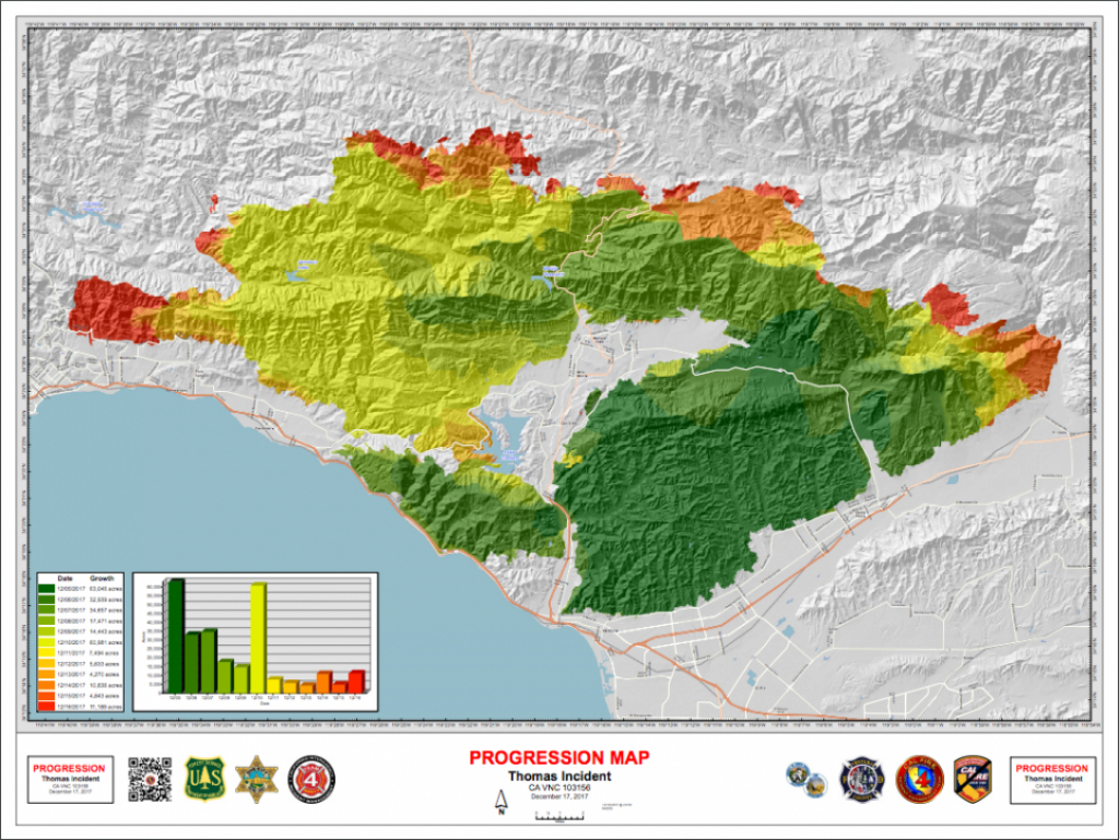 California Fire Map Update: Thomas Fire Is Second Largest In State in California State Fire Map