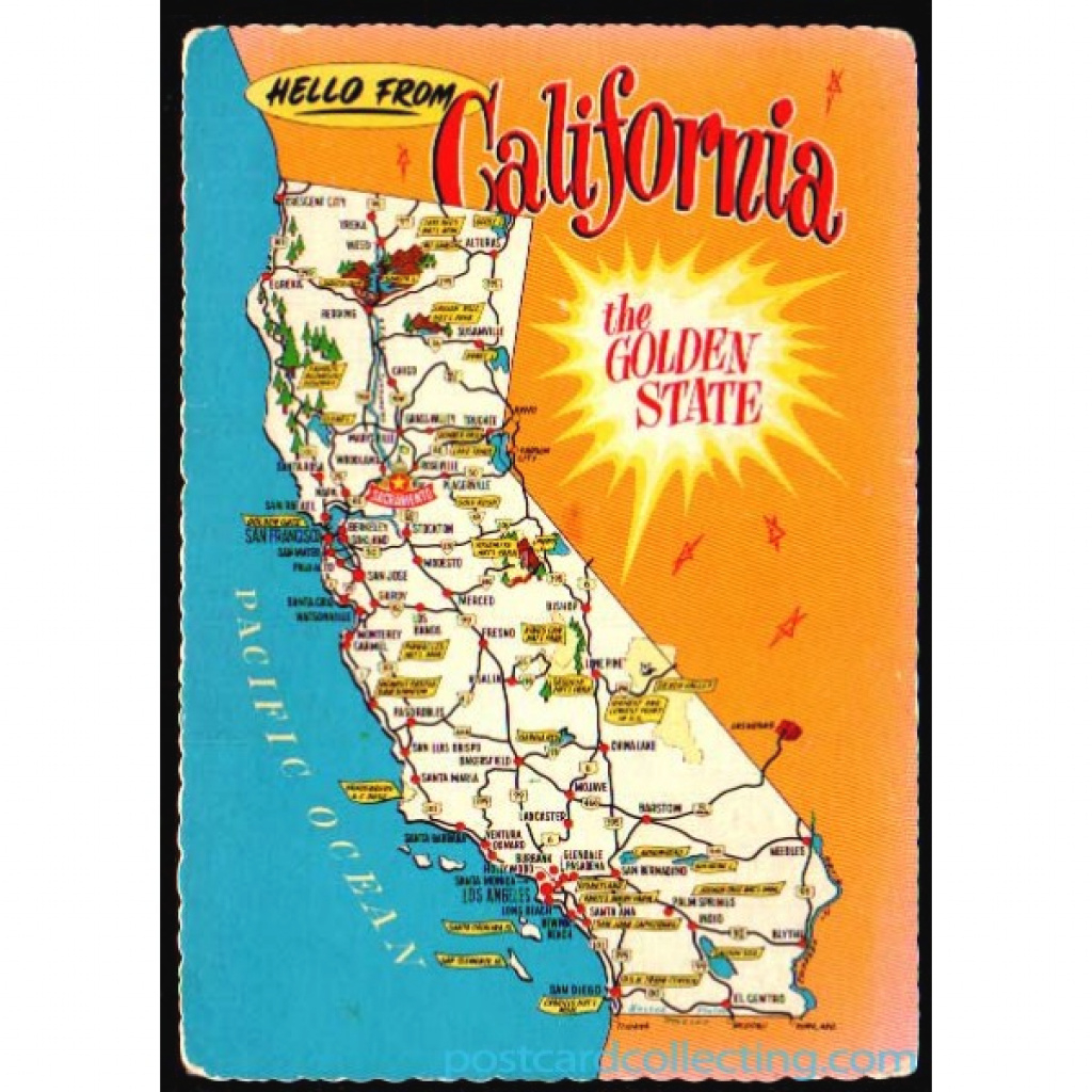 California Map Postcard - Hello From The Golden State $1 Box with Golden State Map Location