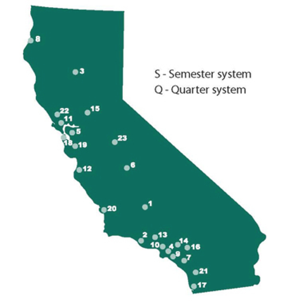 California State University Campuses Home -- University Catalog for California State University Map