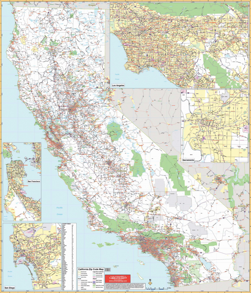 California State Wall Map W/ Zip Codes – Kappa Map Group intended for State Wall Maps