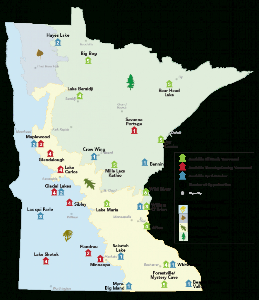 Camping: Camper Cabin Locations - Minnesota Dnr - Mn Department Of in Minnesota State Park Camper Cabins Map