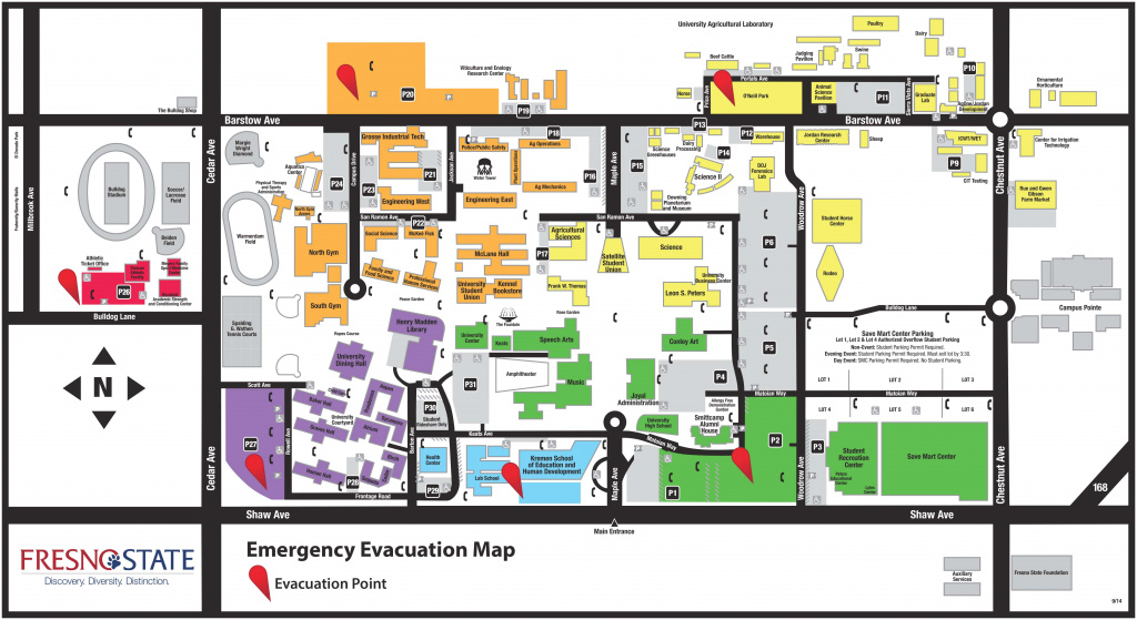 Campus Evacuation Map within Fresno State Map Pdf