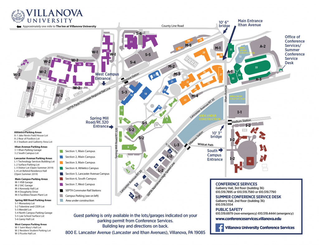 Campus Map And Directions | Villanova University regarding Sac State Campus Map