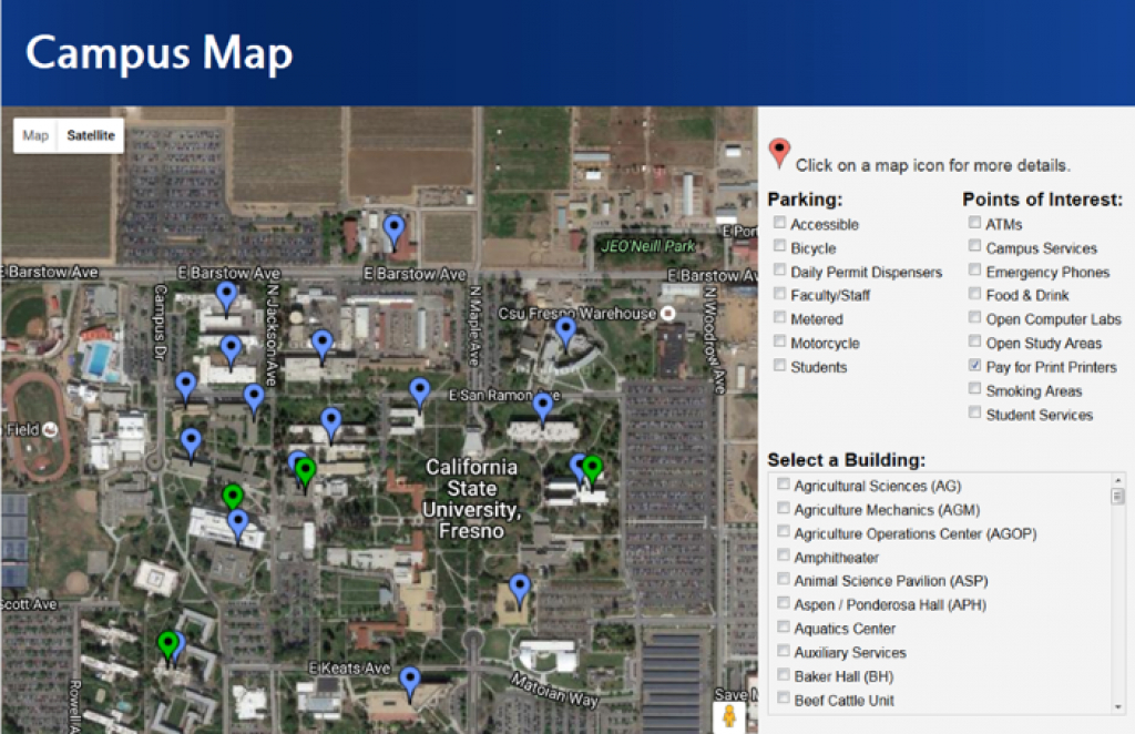 Campus Map : Fresno State for Fresno State Map Pdf