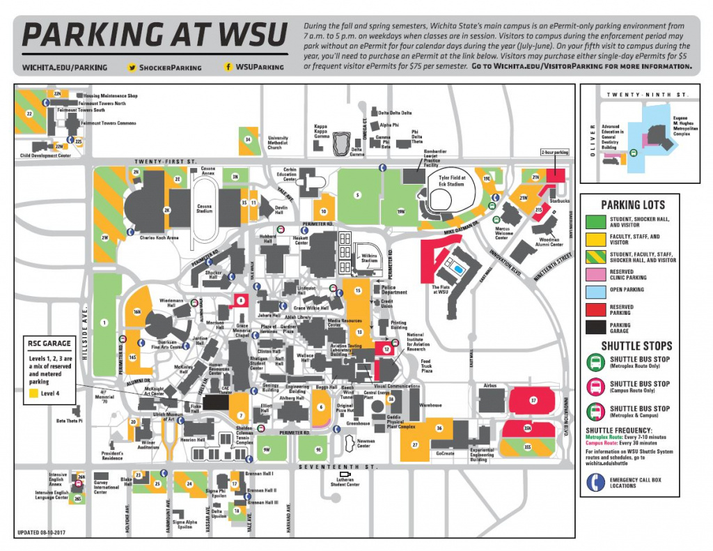 Campus Map in Wichita State Parking Map