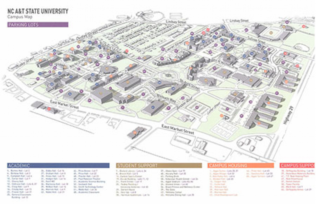 Campus Map - North Carolina A&t State University inside Nc State Parking Map