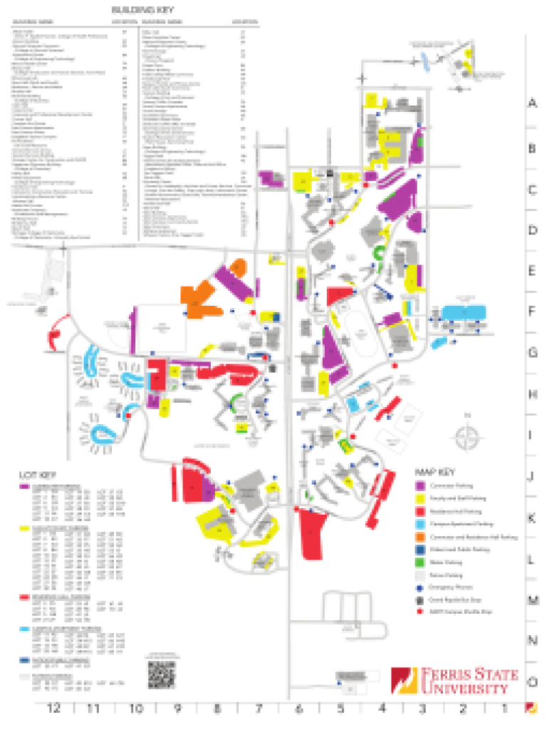 Campus Map throughout Ferris State University Campus Map