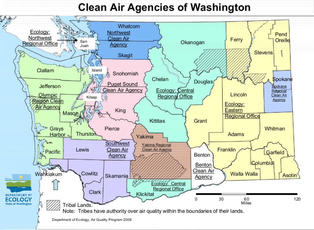 Can I Burn? | Wa Burn Bans throughout Washington State Air Quality Map