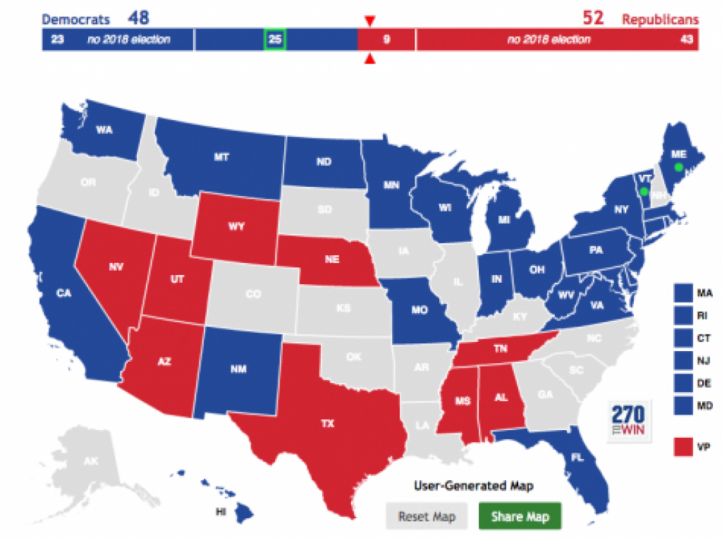 Can The Democrats Really Take The Senate In 2018? – Oakton Outlook inside Blue States 2017 Map