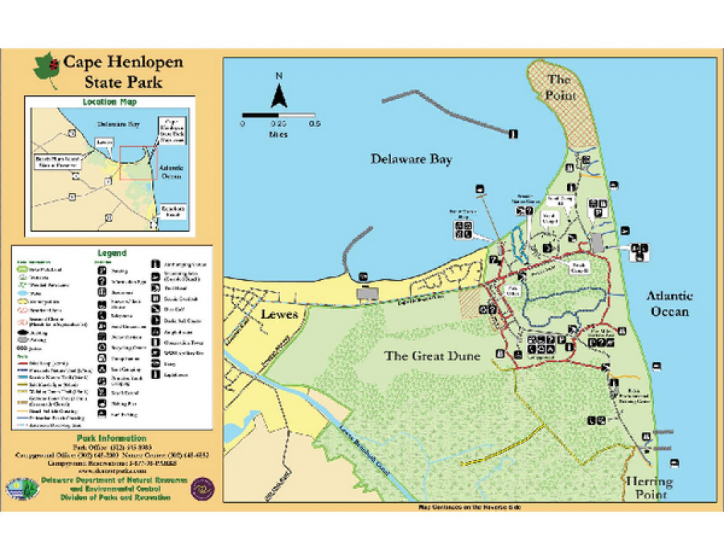 Cape Henlopen State Park Map - Cape Henlopen Deleware Usa • Mappery in First Landing State Park Map Pdf
