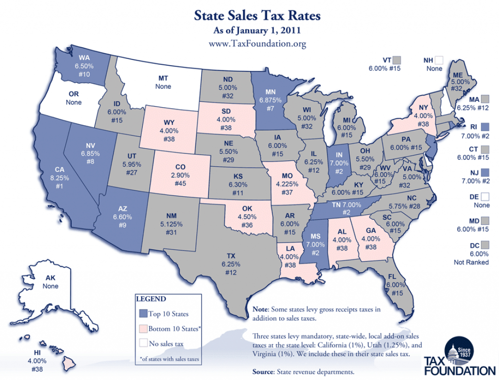 Carpe Diem: Monday Map: State Sales Tax Rates pertaining to Tax Rates By State Map