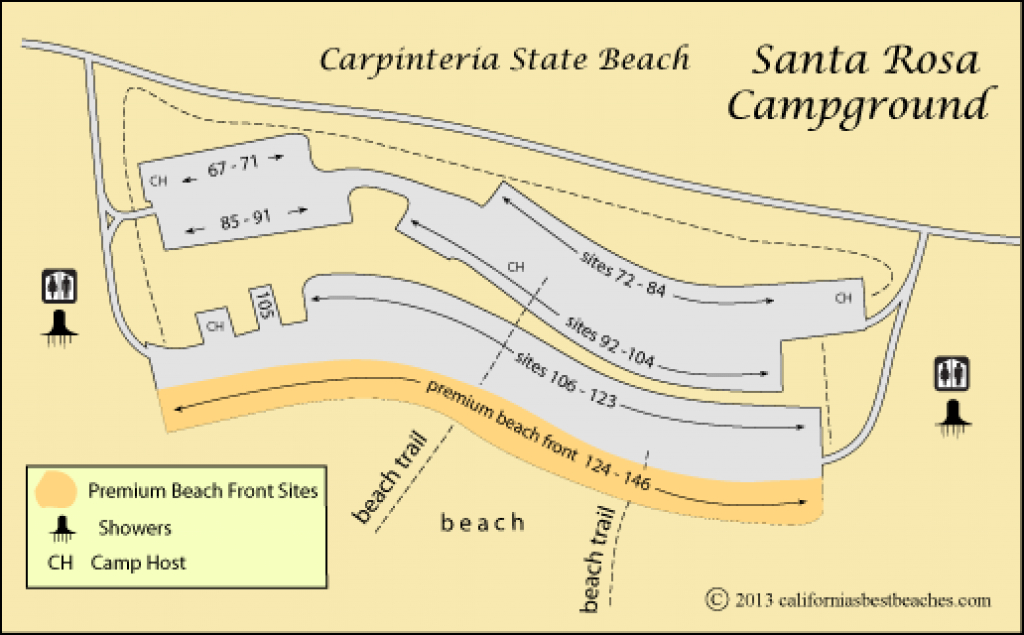 Carpinteria State Beach Camping regarding Carpinteria State Beach Campground Map