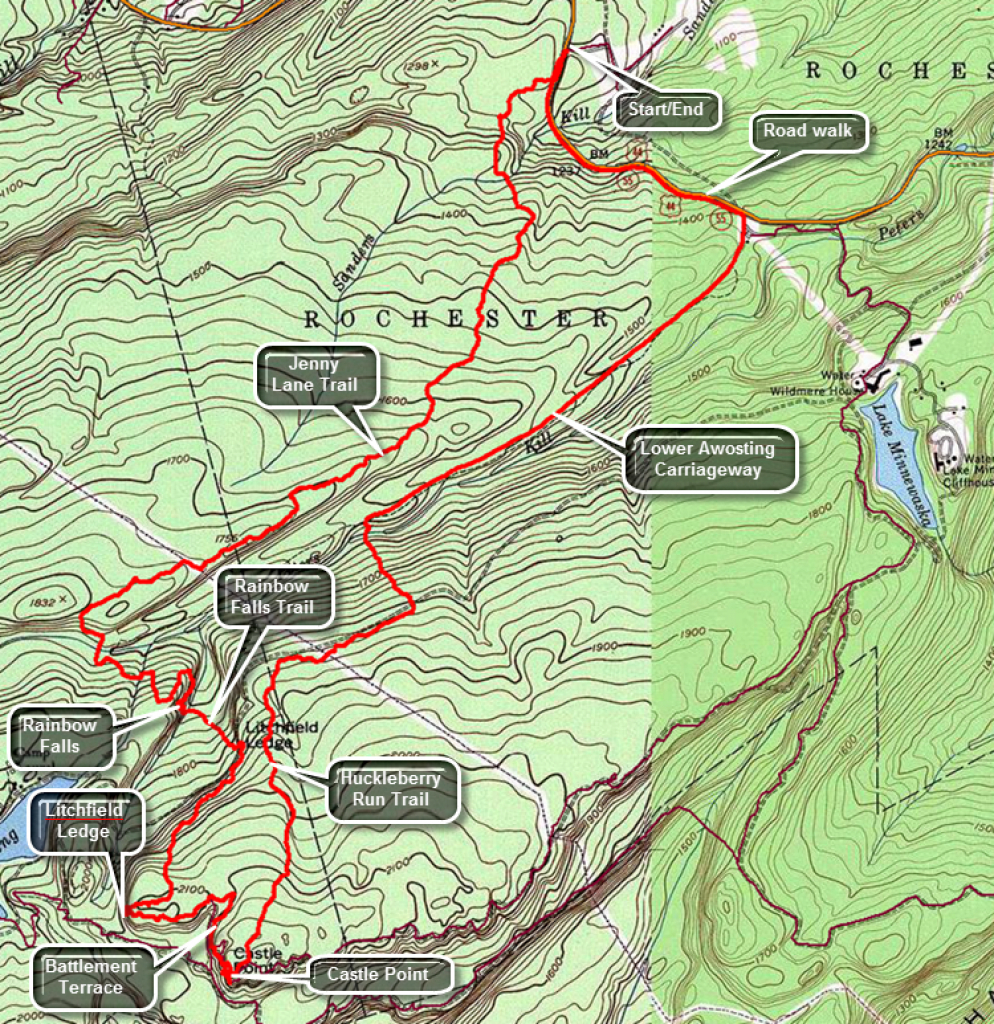 Catskill Hiker: Shawangunk Trails inside Minnewaska State Park Trail Map