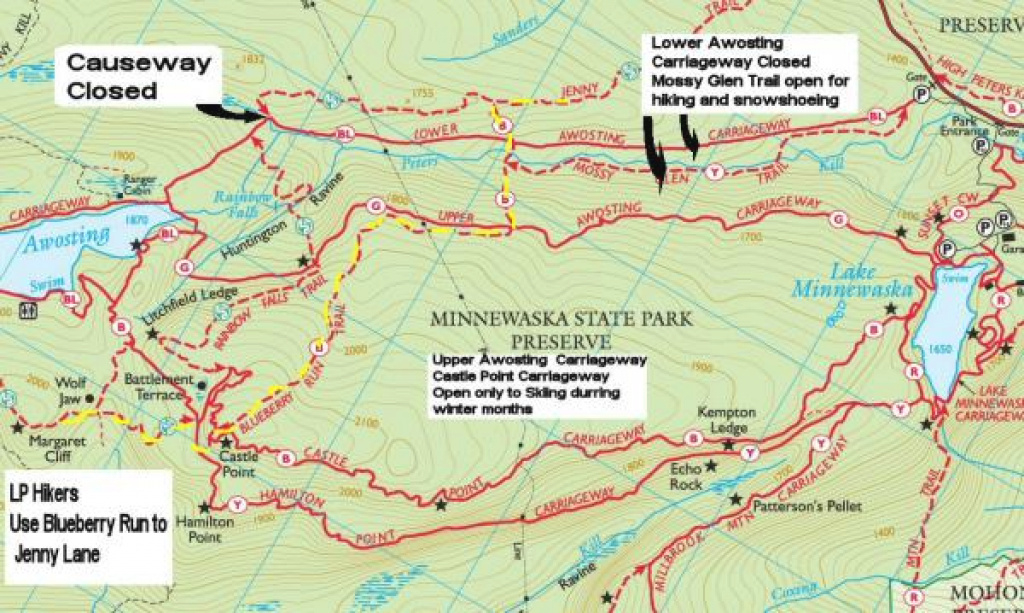 Causeway Work At Minnewaska To Close Two Trails For Three Weeks inside Minnewaska State Park Trail Map