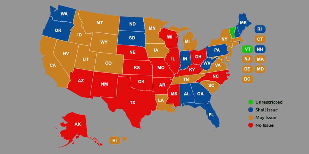 Ccw Reciprocity Maps For All Us States (Oct. 2018 Update) for Gun Control Laws State Map