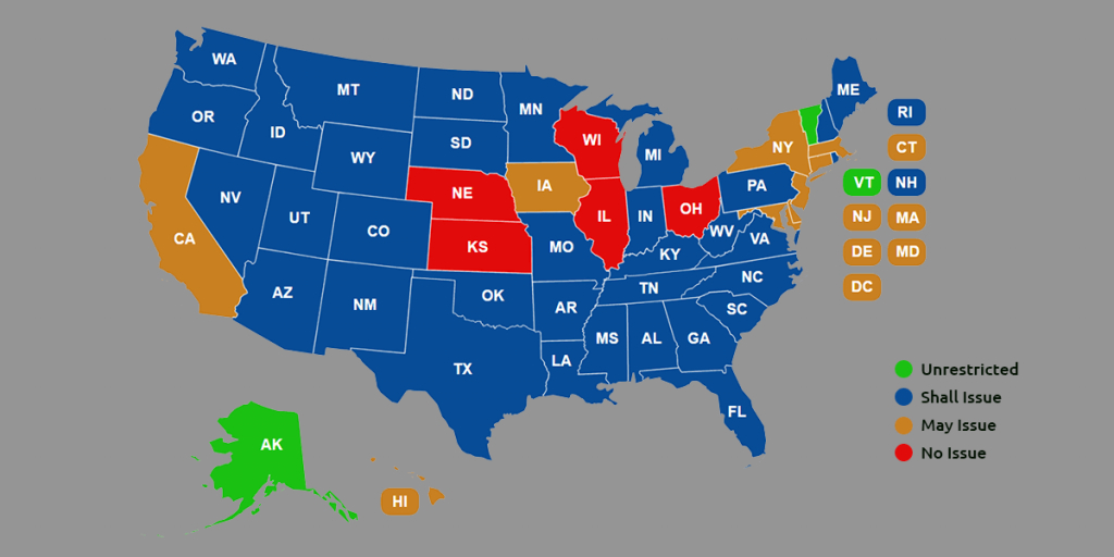 Ccw Reciprocity Maps For All Us States (Oct. 2018 Update) pertaining to Gun Control Laws State Map