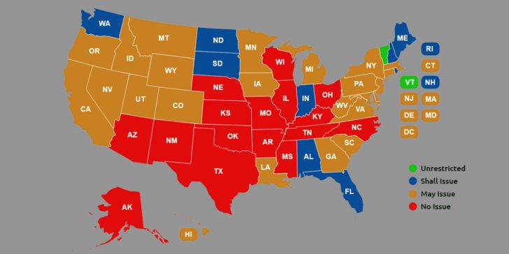 Concealed Carry States Map 2016