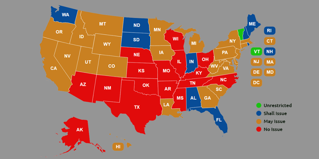 Ccw Reciprocity Maps For All Us States (Oct. 2018 Update) throughout Concealed Carry States Map 2016