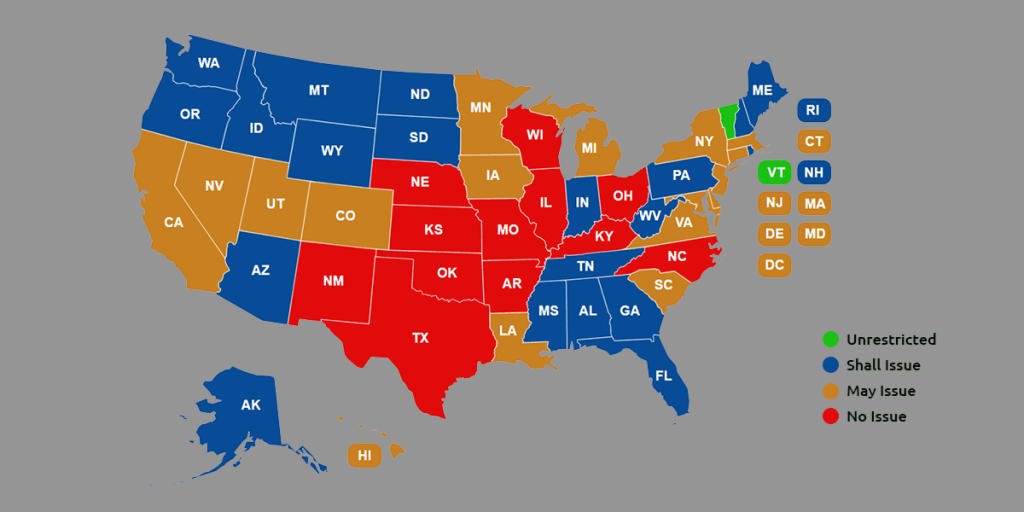 Ccw Reciprocity Maps For All Us States (Oct. 2018 Update) within Open Carry States Map 2017