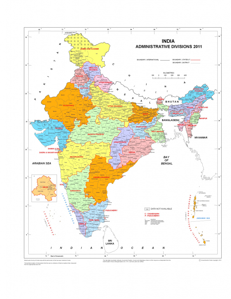 Census Of India: Census Maps within India Map Pdf With States